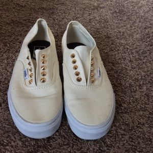 Greatly Worn Cream Studded Vans